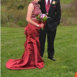 2 piece burgandy formal dress, size 2 prom